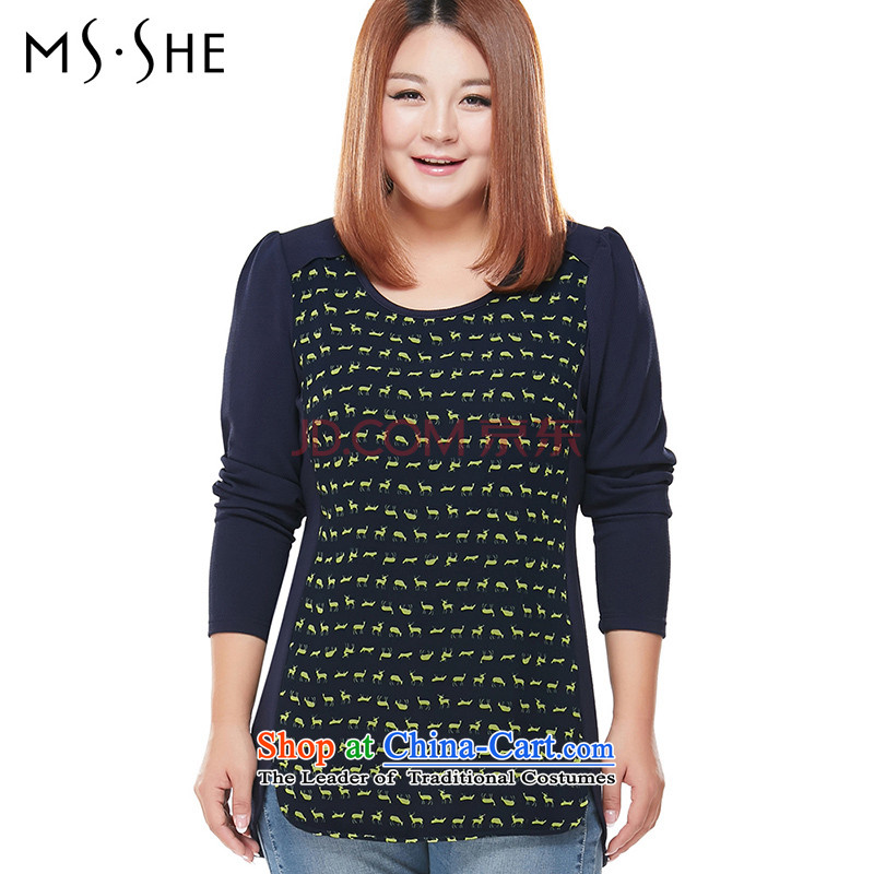 To increase the number msshe women 2015 Autumn new thick mm long-sleeved shirt, forming the T-shirt Netherlands 5762 possession of Sorok 3XL blue