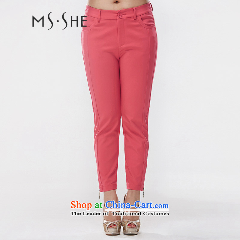 9 Press to increase msshe code women 2015 Autumn New stretch cotton Korean thick mm Sau San Castor pants for 6466 watermelon red燭5
