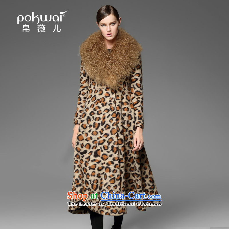 The Hon Audrey Eu Yuet-yung 2015 9POKWAI_ winter new women leopard long hair collar woolen coat gray M pre-sale No. 1 December