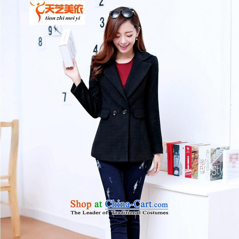 According to the2014 days Ji-mi autumn and winter new Korean Sau San double-jacket female suit gross? version a jacket9810BlackXL