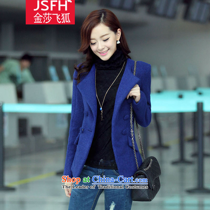 The Flying Fox Of The Jinsha 2014 autumn and winter new double row port short Sau San gross jacket female sweet oke it for a 901- BLUE S