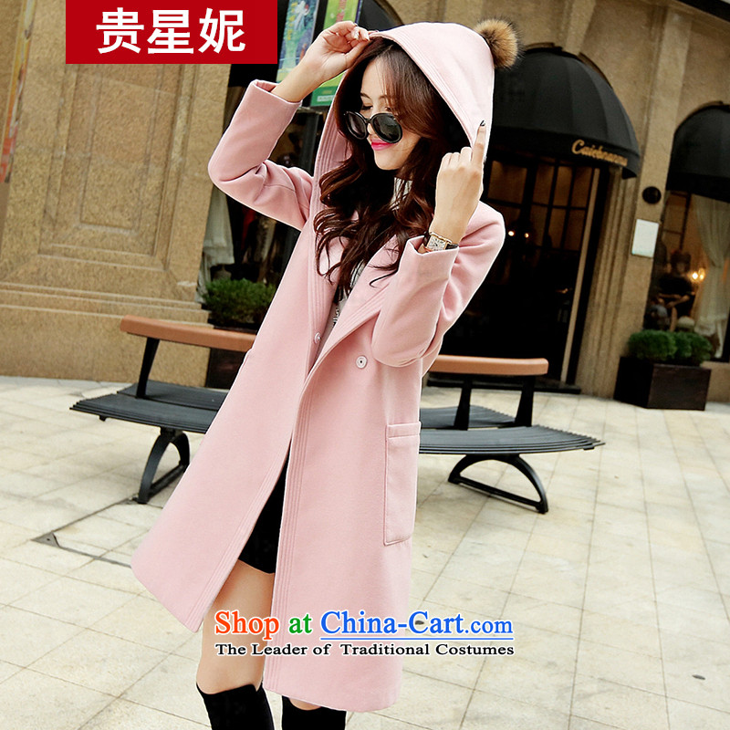 The Star Ni? The Coat 2015 autumn and winter new women's a wool coat larger solid color in Sau San long cap pink jacket? gross燣