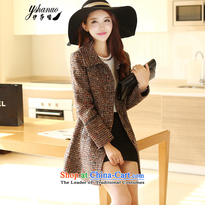 Isabel well _new_ spring and autumn YSHANUO_2015 in long Korean female coats of Sau San Mao? jackets YS8856 brown white floral燣