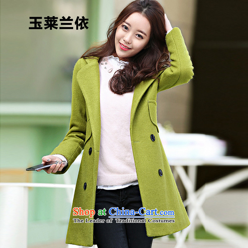 In accordance with the 2015-yuk leyland autumn and winter new Korean women in the long coats YWCA gross? green?XL