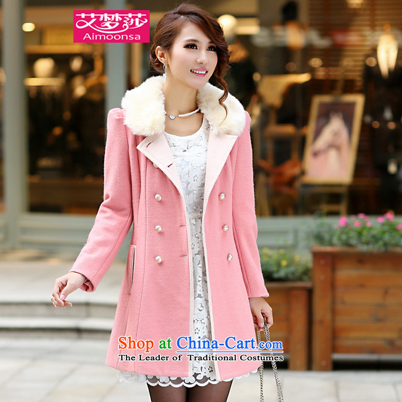 2015 Autumn and winter aimoonsa Korean version of the new double-GROSS for Gross overcoats? women in long Sau San a wool coat winter coats pink燲L