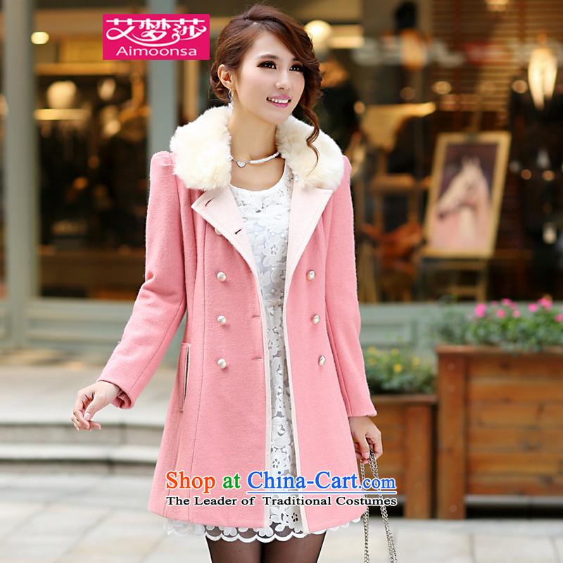2015 Autumn and winter aimoonsa Korean version of the new double-GROSS for Gross overcoats? women in long Sau San a wool coat winter coats pinkXL