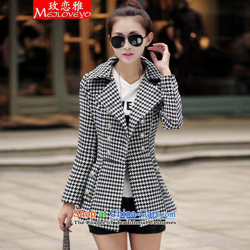 The land of the 2015 autumn and winter new women's Korea version long chidori grid gross?   windbreaker jacket coat women 6829 gross? picture color燤