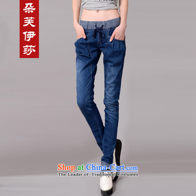 Flower to Isabelle 2015 autumn and winter new Fat MM TO XL Graphics skinny legs Harun trousers jeans female D7250 BLUE XXL