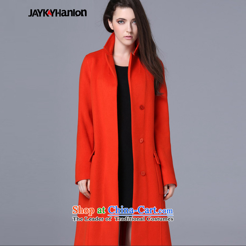 Install the latest autumn and winter jaykayhanlon2015) Western big long cashmere cloak? female suits gross solid color woolen coat jacket orange?L