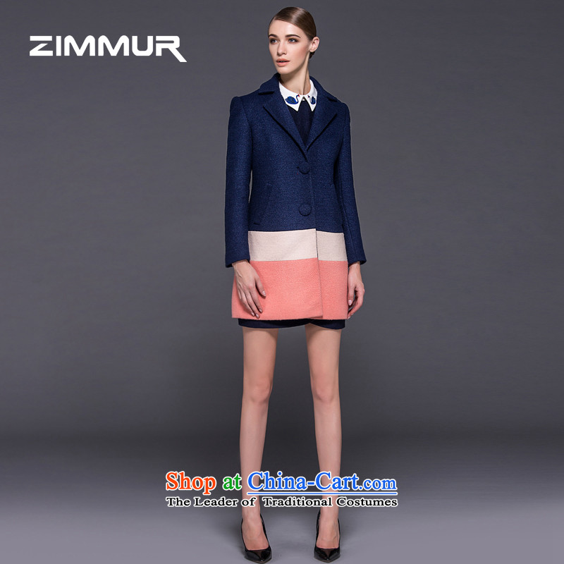 2015 winter clothing new ZIMMUR, single row color plane coat hooks long wool? female power temperament jacket female Blue燤