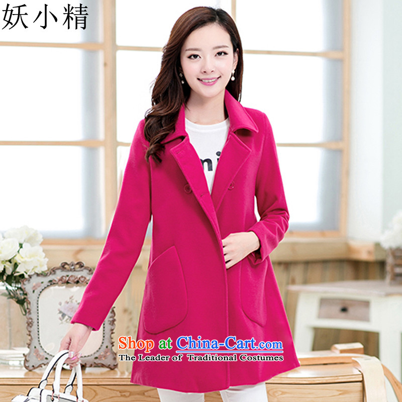 Femme Fatale boutique�15 autumn and winter new larger female Korean version skinny Heung-thick mm in length_ lapel a gross jacket coat? female autumn and winter in Red�L