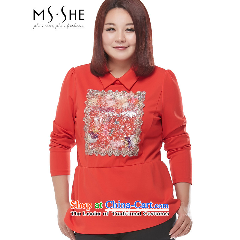 Msshe xl women 2015 Autumn replacing the new Fat MM sweet minimalist long-sleeved T-shirt, forming the embroidery 2149 ORANGE 5XL
