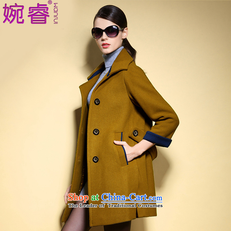Yuen-core women 2015 winter clothing new long-sleeved temperament, double-thin wool? jacket video female hair? coats Qiu Xiang green L