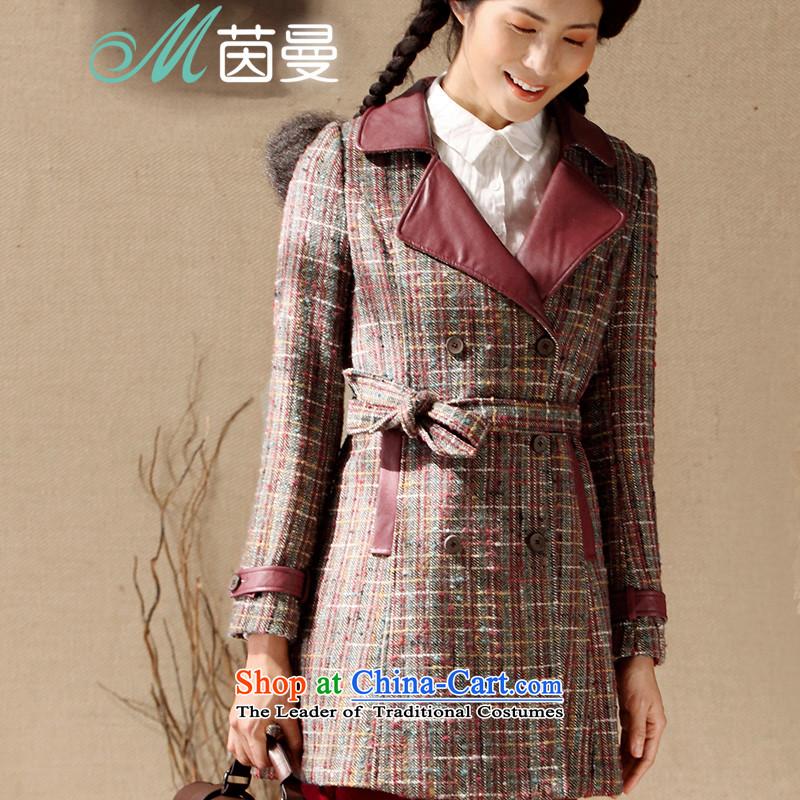 Athena Chu Cayman�14 winter clothing new arts latticed PU leather stitching in long jacket _8443200360_?- amber red燣