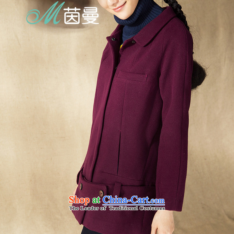 Athena Chu Cayman 2014 winter clothing new minimalist net color segmentation stitching waistband decorated women _8443200075 jacket?- Wine red XL