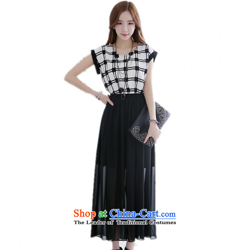 C.o.d. Package Mail xl women's dresses Korean OL commuter temperament bat sleeves latticed streaks stitching chiffon Dress Casual beach long skirt latticed black燲XL around 922.747 140-155