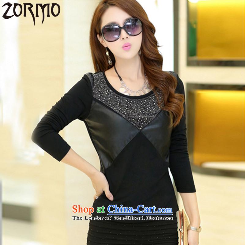 燣arge ZORMO female autumn and winter_, forming the thick shirt lint-free PU ironing drill stitching to xl thermal underwear black�L 160-180 catty
