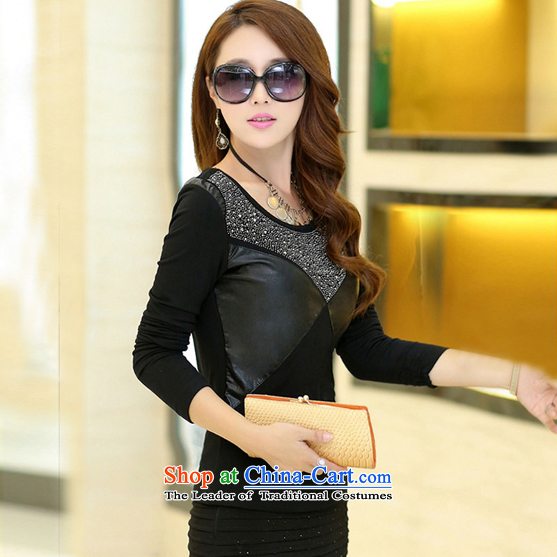 Large ZORMO female autumn and winter), forming the thick shirt lint-free PU ironing drill stitching to xl thermal underwear black4XL 160-180 catty ,ZORMO,,, shopping on the Internet