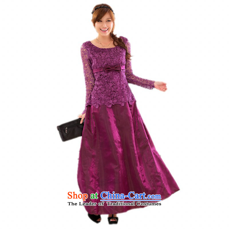 C.o.d. Package Mail xl long skirt dress western temperament Sau San lace long-sleeved evening performances under the auspices of the annual long skirt autumn and winter marriage skirt purple燲L around 922.747 Paras. 125-140