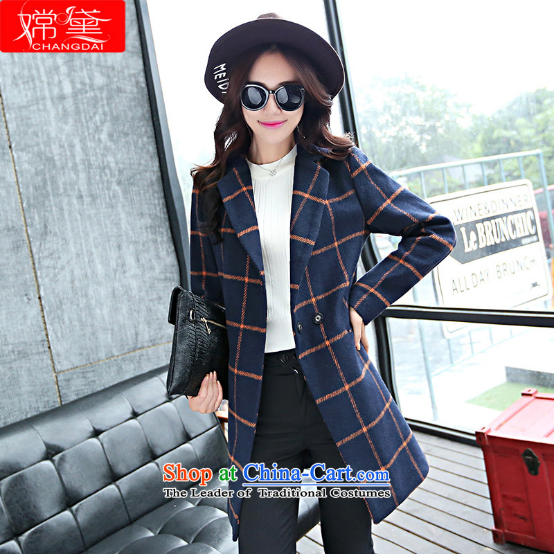 The Truth _Korean version of Estee Lauder CHANGDAI_ 2015 Fall_Winter Collections in large new long long-sleeved wool coat women?? jacket coat female navy blue,燤