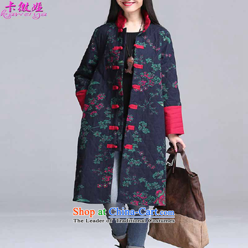 Card micro-ah autumn and winter load new Korean version of large numbers of ethnic women's video, thin to thick sister increase cotton linen loose neck long thick cotton jacket coat mm blue safflower燲XL code _145-160 catty