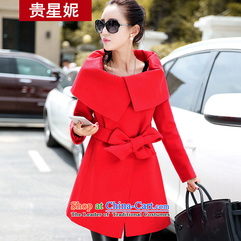 The Star Ni autumn and winter 2015 new for women stylish lapel sided flannel jacket coat? Korean long jacket, Sau San RED燤