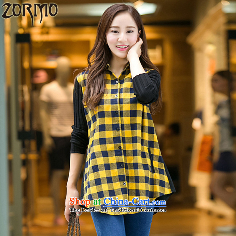 The Korean version of the female ZORMO thick mm autumn and winter, to intensify the code segments of the medium to long term, Ms. shirt leisure shirt yellow 175-195 5XL catty