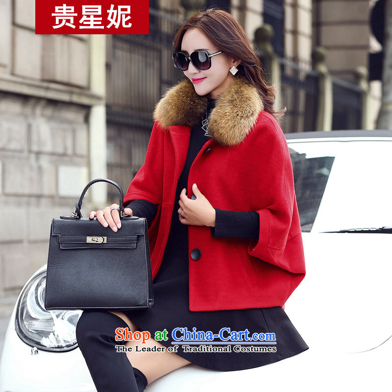 The Star Ni a wool coat thick hair? Small winter coats female short of autumn and winter coats? won Grand Prix funnels canopies women Edition Red clasp燤