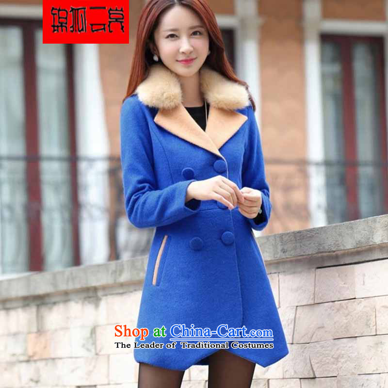 Kam Fox Ella fall inside the new 2015 female coats women's gross coats female Korean?   Graphics in the medium to long term, thin hair? jacket women NZ8 BLUE L