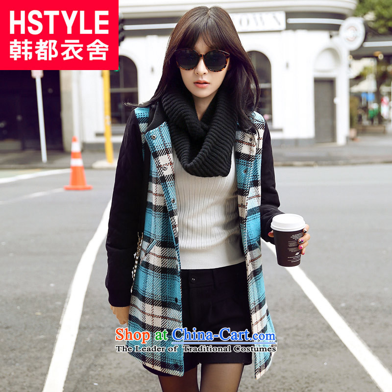 Korea has the Korean version of the Dag Hammarskjöld yi 2015 winter clothing new women stitching grid gross? jacket NW3361 Sau San Tsat Blue M