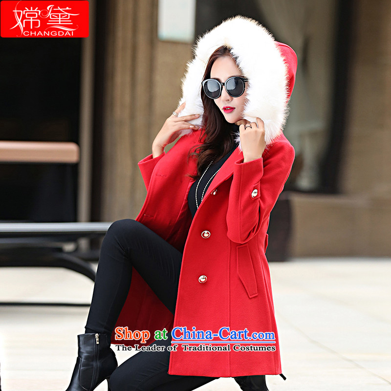 The Truth _Korean version of Estee Lauder CHANGDAI_ 2015 autumn and winter new graphics thin single row detained in pure color long hair? coats female jackets red color   M