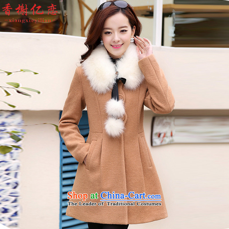 Champs billion Land 2015 autumn the new Korean removable for Gross Gross? coats that long hair and color jacket D6505??M