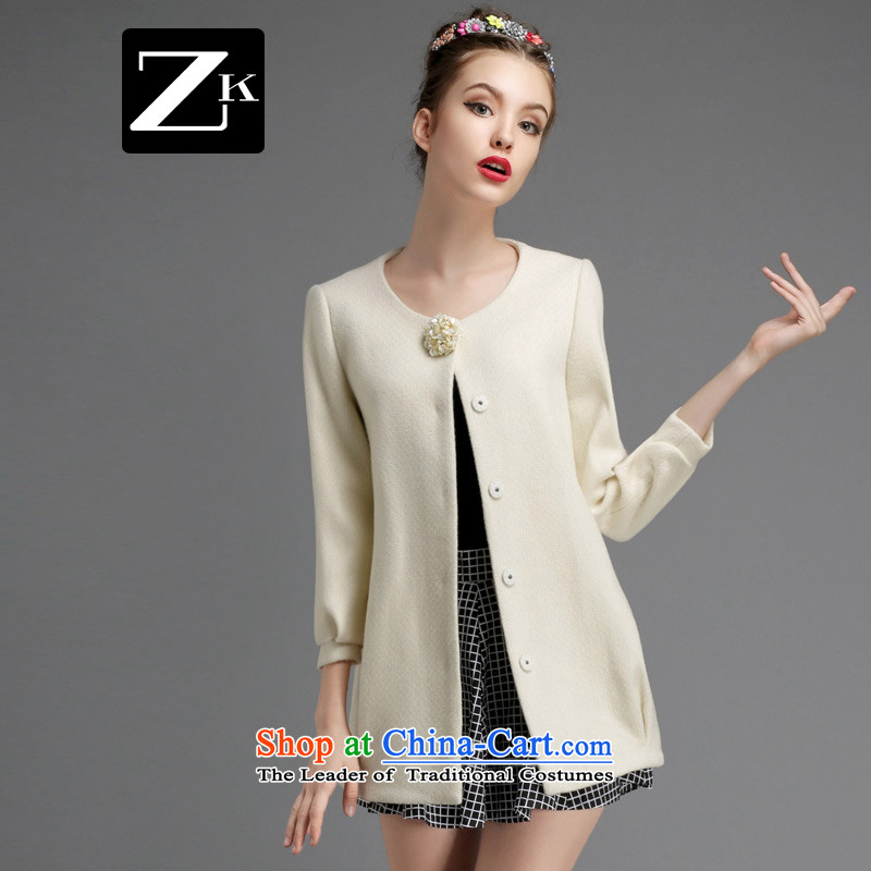 Gross coats women ZK2014? In the long hair of Sau San? jacket women's temperament elegant autumn and winter replacing a wool coat m White燣