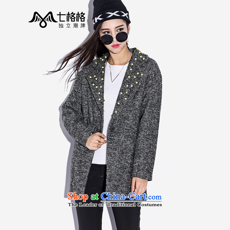 _Non-dual 12 7- Pearl Western punk wind fluorescent rivets high levels fall and winter coats? female gray woolen燣 _165_88A code