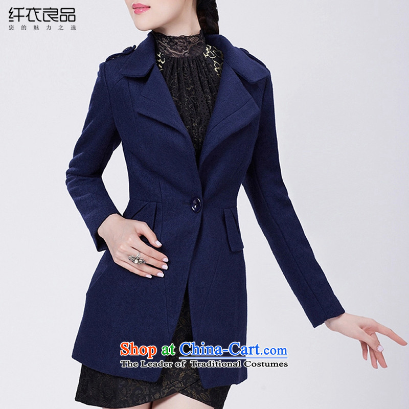The former Yugoslavia Yi goods gross? female 2015 winter coats on female pure colors and stylish Wild Hair Girl Korean jacket? In long T0510 彩蝶纷飞 dark blue S