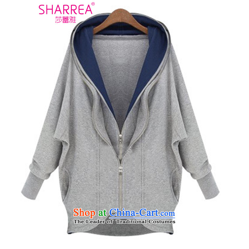 Sarah ya�14 autumn and winter, Western wind jacket double zipped irregular large female sweater�燣ight Gray�L
