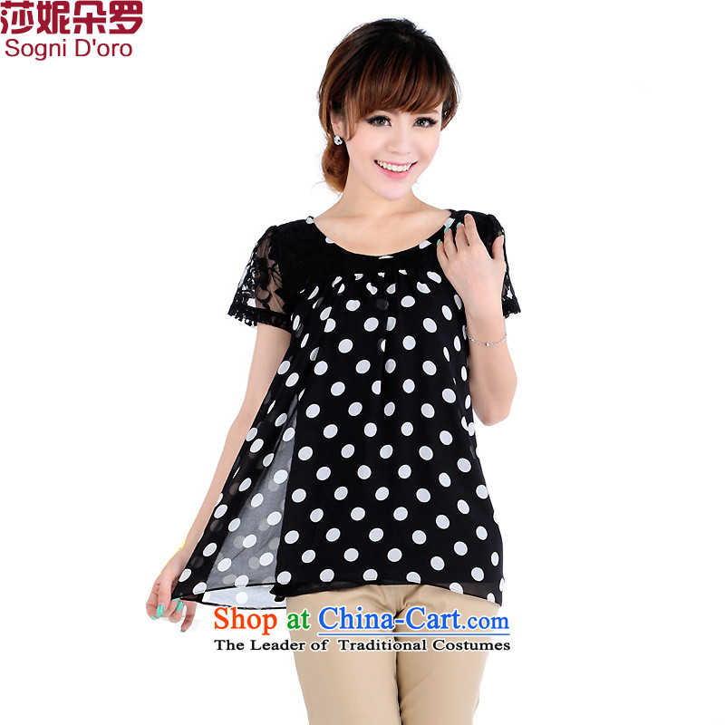 Shani Flower Lo King Code women�0 catties thick mm Summer 2014 Graphics thin short-sleeved T-shirt female chiffon Netherlands shirt 4670 Black燲L