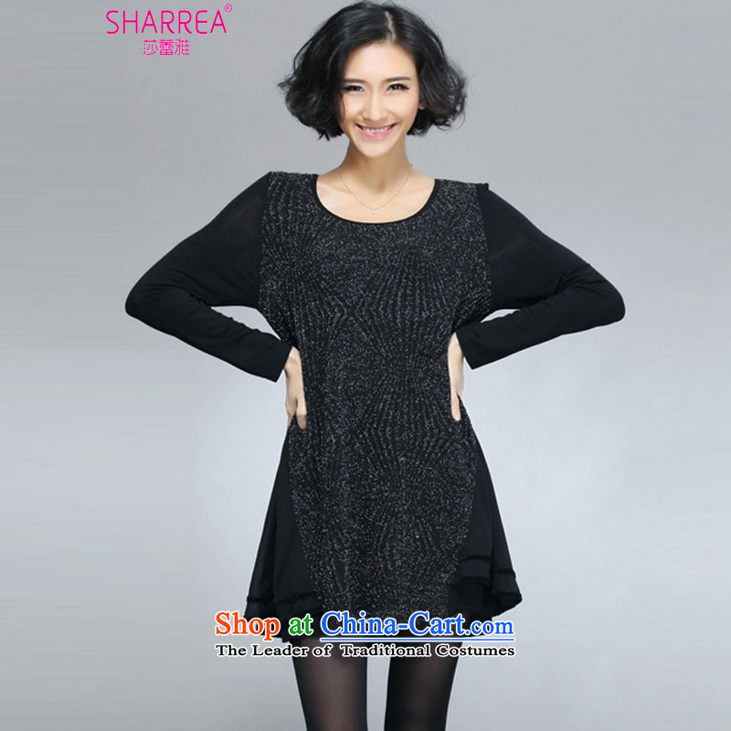 Sarah ya 2015 Spring New Korean version of large numbers of black flashing Boobie dresses 0774 Black 3XL/145-160 catty
