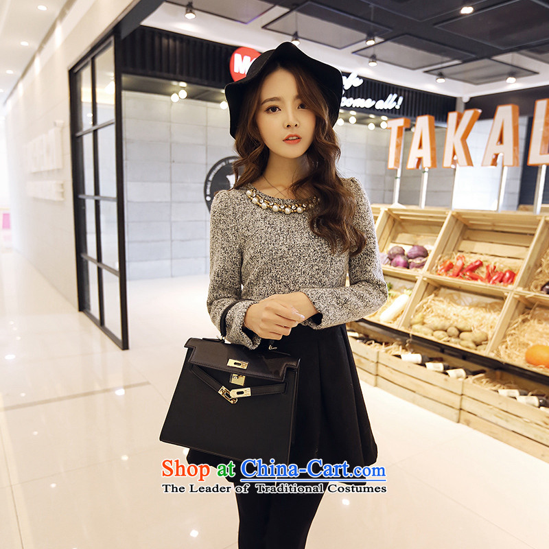 The fertilizer greatly code women 2015 mm thick with Korean autumn new graphics thin stitching long-sleeved shirt? skirts gross figure燲XXXL color