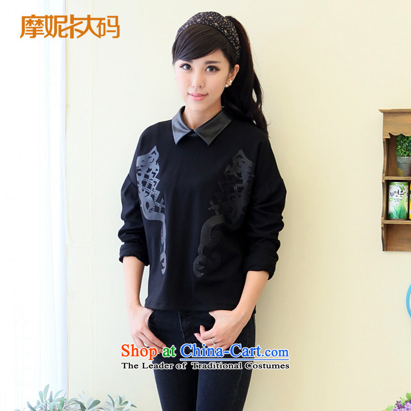 American Samoa Nika XL 2014 Korean female new expertise of autumn mm spell leather lapel video thin kit and sweater female black XXXXL