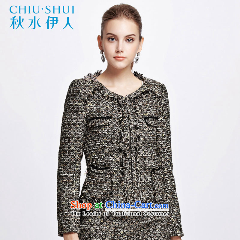 Chaplain who 2014 winter clothing new women OL wild round-neck collar on long-sleeved short, decorated with coats?1341N120??165_L black