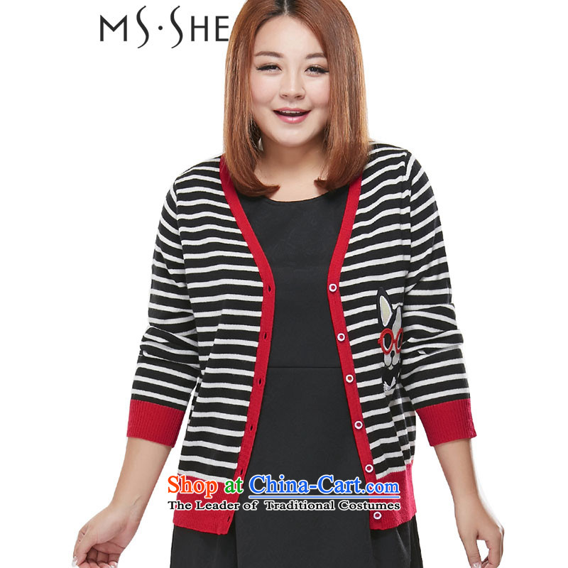 Msshe xl women 2015 Autumn replacing streaks knocked color knitting cardigan V-Neck Sweater jacket, black-and-white�L 7833