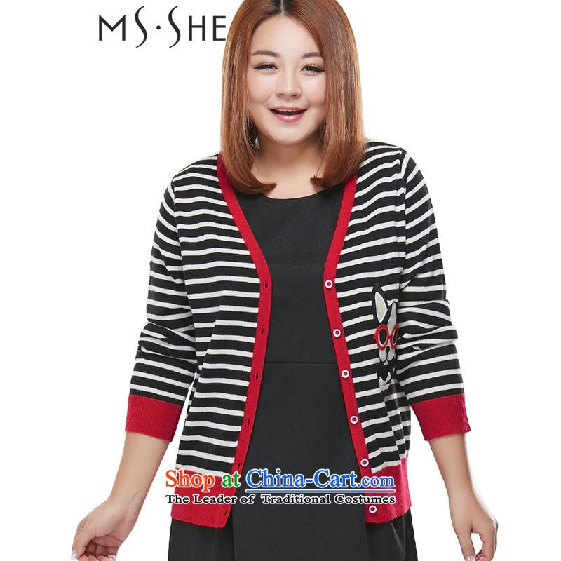 Msshe xl women 2015 Autumn replacing streaks knocked color knitting cardigan V-Neck Sweater jacket, black-and-white3XL 7833
