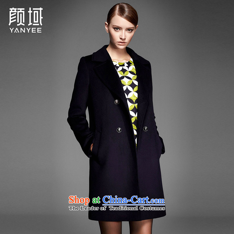 Mr NGAN domain 2015 new autumn and winter coats? female OL of wool in the Korean version of the solid color roll collar double-a wool coat�W4560牋L_40 black