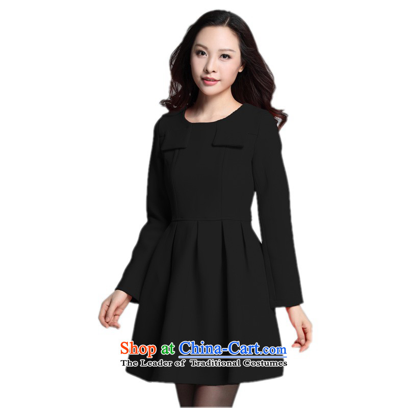 C.o.d. xl autumn and winter dresses Korean OL elegance knitting Foutune of long-sleeved skirt thick mm thin forming the graphics skirt lady white collar skirt around 922.747 appears at paragraphs 145-155 2XL Black