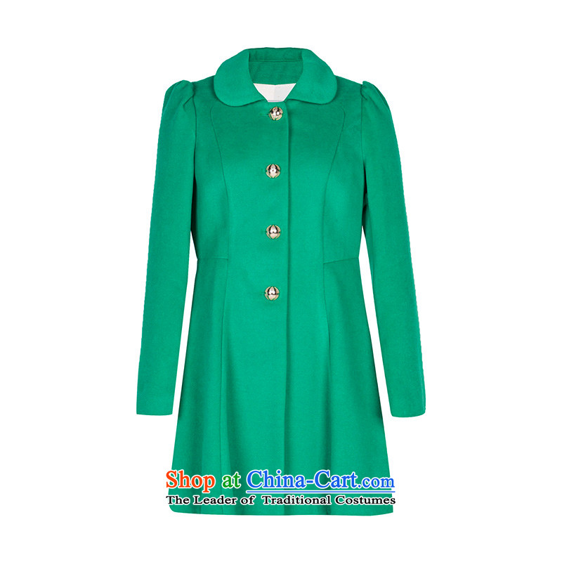 Three new multimedia 2015 winter clothing simple single row detained elegant pure colors in the sleek and versatile plush coat female light green L_165_88a?