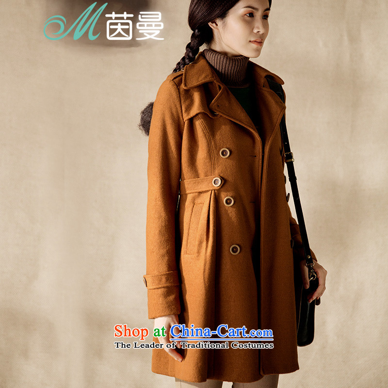 Athena Chu Cayman�14 winter clothing new net new color, double-video in the thin long jacket 8443200635_? orange燲L