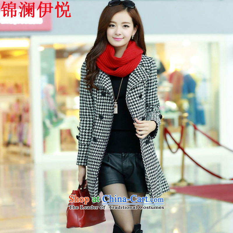 The world of Kam Yuexin of autumn and winter female decorated in video thin gentlewoman temperament, double-yang power with chidori grid a wool coat gross jacket coat women so Connie sub-coats3XL black-and-white