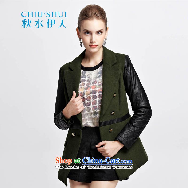 Chaplain who winter clothing new stylish PU leather stitching Sau San Wild Hair? overcoat1343C120208155/S Army Green