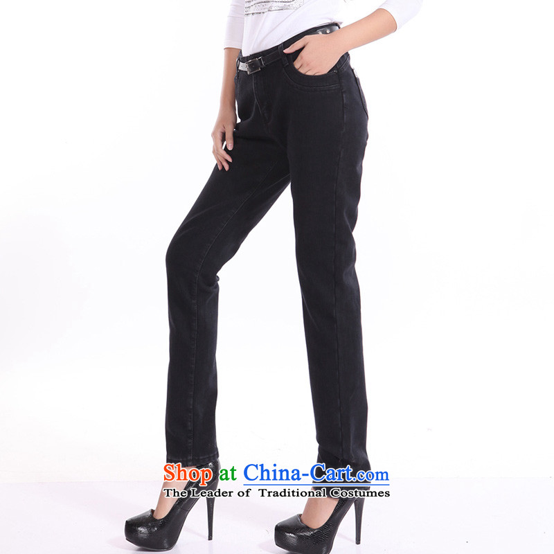 Set the 2014 autumn and winter crescent on new larger ladies pants and thick jeans, lint-free female support c.o.d. trousers thick MM high waist graphics with a Straight thin black聽30, Crescent set leisure shopping on the Internet has been pressed.